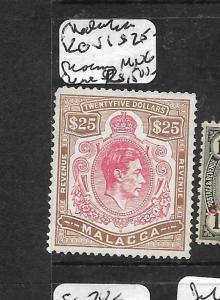 MALAYA MALACCA   (P3012B) KGVI KEYPLATE $25,OO MNG VERY RARE