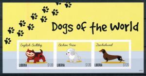[75736] Liberia 2012 Dogs Bulldog Dachshund Imperf. Sheet MNH