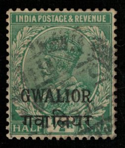 India, GWALIOR, 1/2 Anna, King George V (T-6069)