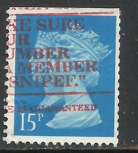 GB 1990 QE2 15p Brt Blue Anniv Penny Black SG 1467 Book Imperf edge ( J485 )