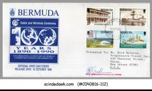 BERMUDA - 1990 CENTURY OF WORLD COMMUNICATIONS FOR BERMUDA - 4V - FDC SIGNED