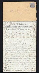 MASSACHUSETTS: Lawrence 1871 BILLBOARD ADVERTISING Letter Head 3c #114