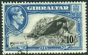 GIBRALTAR-1938 10/- Black & Blue Perf 14.  A very fine used example Sg 130