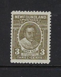 NEWFOUNDLAND SCOTT #89 1910  GUY ISSUE 3 CENTS (BROWN/OLIVE)  - MINT HINGED