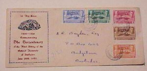 BARBADOS  FDC  1937 SET OF 5 STAMPS  CACHET ADDRESSED