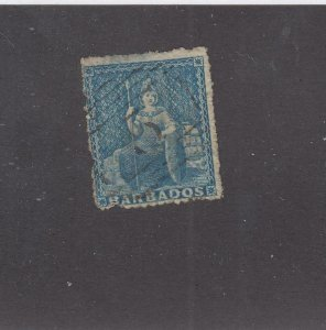 BARBADOS (KKMK9988)  # 11 1p BLUE BRITANNIA LIGHT USED(Thinned) CAT VALUE $175