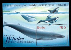 NAMBIA  1998  $5  WHALES  M/S MNH