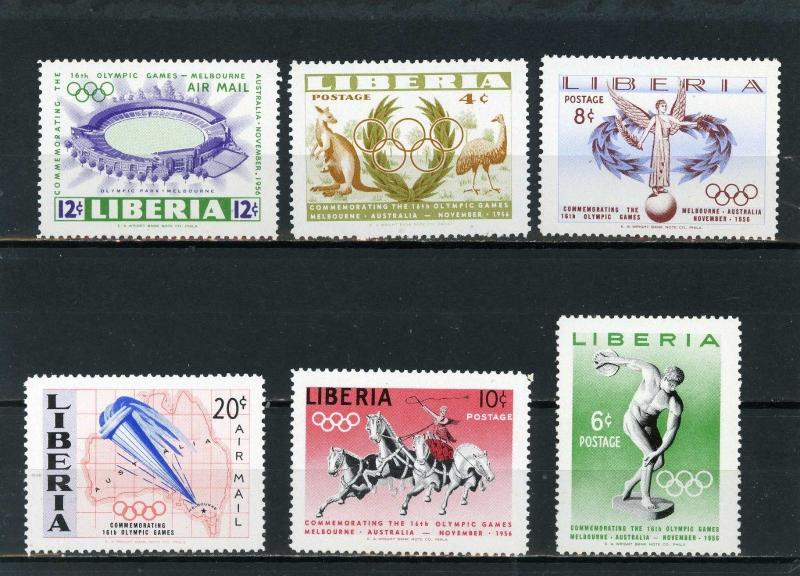 LIBERIA 1956 SUMMER OLYMPIC GAMES MELBOURNE SET OF 6 STAMPS MNH