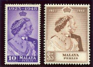 Malaya - Perlis 1948 KGVI Silver Wedding set complete MLH. SG 1-2. Sc 1-2.