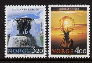 Norway 995-6 MNH Tourism, Sculpture, Art