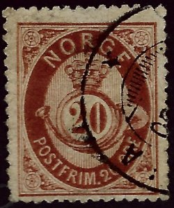 Norway  SC #43 Fine Used upper right corner tear Cat $19...Great Value!