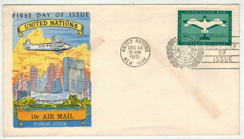 1951 United Nations First Airmail Stamp Issues FLUEGEL C2 U.N. 10c AIR MAIL