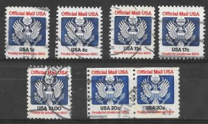 U.S. Scott #O127-O130; O132; O138A Used Lot of Official Stamps 2018 CV $17.50
