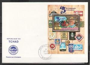 Chad, Scott cat. 472. Jamboree o/p. on Gold Foil s/sheet on a First Day Cover.