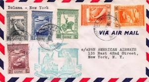 Portugese Guinea, 1941 First Flight Cover, Bolama to New York