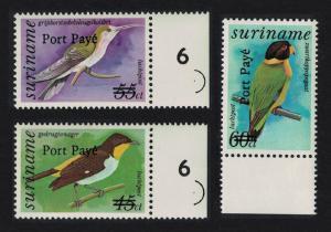 Suriname Birds optd Port Paye 3v Right Margins SG#1585-1587