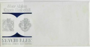 Seychelles Silver Jubilee Queen Elizabeth ll Official FDC Envelope Ref 33605