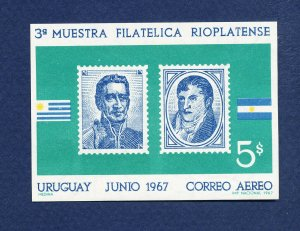 URUGUAY  - C397 - - VFMNH S/S  - flags, stamp show - 1967