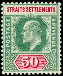 MALAYSIA - Straits Settlements SG118, 50c deep green & carmine LH MINT. Cat £20.