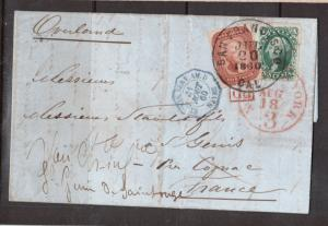 USA #27 & #35 Used On Very Attractive Folded Letter To France With Lovely Cancel