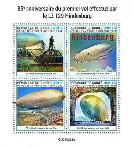 GUINEA - 2021 - LZ-129 Hindenburg - Perf 4v Sheet - Mint Never Hinged