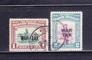 North Borneo MR1-MR2 Set U War Tax Stamps