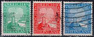Germany; 1925: Sc. # 347-349: O/Used Complete Set