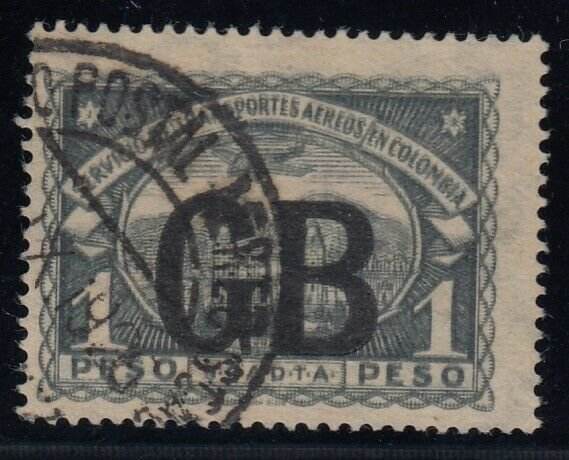 Colombia (Great Britain), Sc CLGB58a, used Double Impression variety, w/ CERT