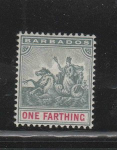 BARBADOS #70  1896  1f     BADGE OF THE COLONY  MINT  F-VF  NH  O.G  bb