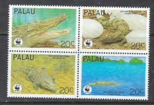 Palau 323 MNH 1994 Crocodiles block of 4 (ap7331)