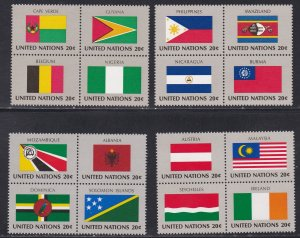 United Nations - New York # 377a-389a, Flags Se-tenant Blocks of 4, NH, 1/2 Cat.