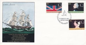 Cocos Islands # 82-84, Annexation to British Dominions 125th Ann First Day Cover