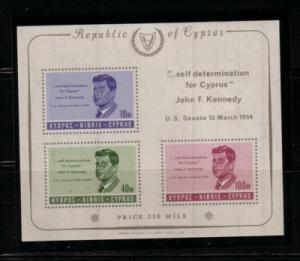 Cyprus Sc 253a 1965 Kennedy stamp sheet mint NH