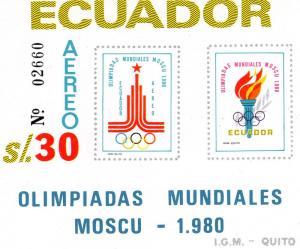 Ecuador1980 SC# 993 Olympic Moscow '80 Souvenir Sheet IMPERF.MNH