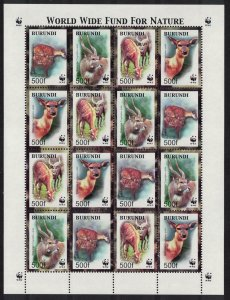 Burundi WWF Sitatunga Sheetlet of 4 sets SG#1638-1641 MI#1867-1870 SC#774 a-d