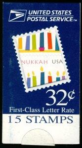 US #3118 BK258 MAKE-SHIFT BOOKLET, Hanukkah, VF/XF mint never hinged, Fresh, ...