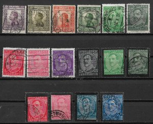1924-34 Yugoslavia King Alexander collection of 16 used.