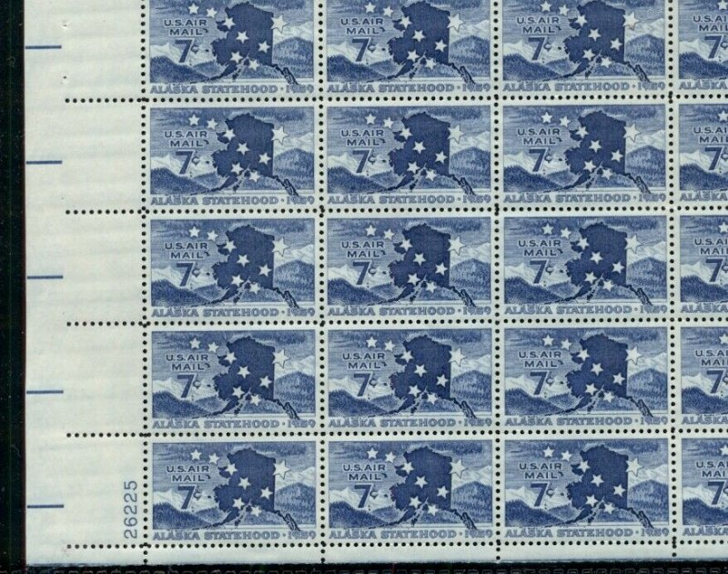 US #C53 7¢ Alaska, Complete sheet of 50, og, NH, VF