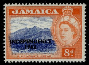 JAMAICA QEII SG187a, 8d ultramarine & red-orange, NH MINT. OPT AT LOWER LEFT