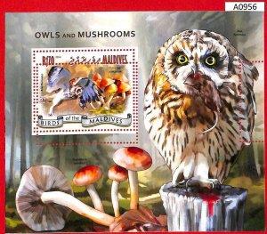A0956 MALDIVES - ERROR  MISPERF SHEET - 2014  BIRDS owls MUSHROOMS СОВЫ ГРИБЫ