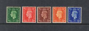 GB 1938 KGVI SG 462a-466a or Sc 235a-239a set of 5 MNH