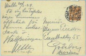 83367 - MALTA - Postal History - POSTCARD to SWEDEN  1929
