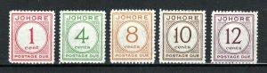 Malaysia - Johore 1938 Postage Due set to 12c MH