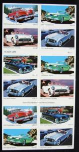 US #3935B MNH Booklet Pane of 20 Sporty Cars SCV $18.00