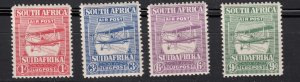 J28435, 1925 south africa set mh #c1-4 airmails biplanes