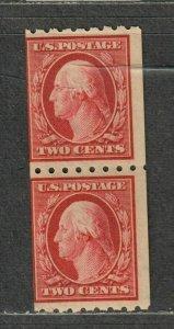 US Sc#391 M/NH/F, Coil Pair Crowe Cert, Cv. $240