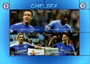 Benin 2014 Chelsea Football Soccer 4v Mint Souvenir Sheet S/S. (#07)