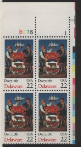 US, 2336, MNH, PLATE BLOCK, 1987-90, DELAWARE