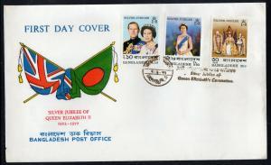 BANGLADESH #123-125    1977 QEII SILVER JUBILEE  MINT  VF NH  O.G  FDC  a