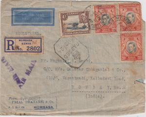 K.U.T.  1942  Mombasa  Registered  Cover To India Censored  2 Scans  62176